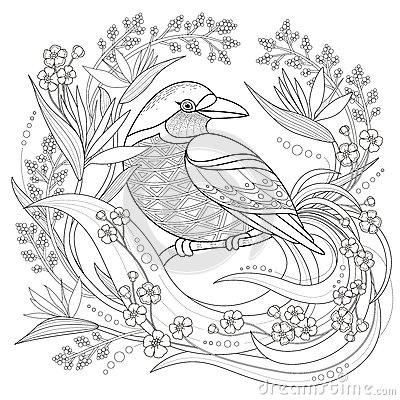 Graceful Bird Coloring Page Stock Vector