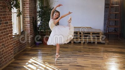 graceful dance ballerina practicing exercise classical