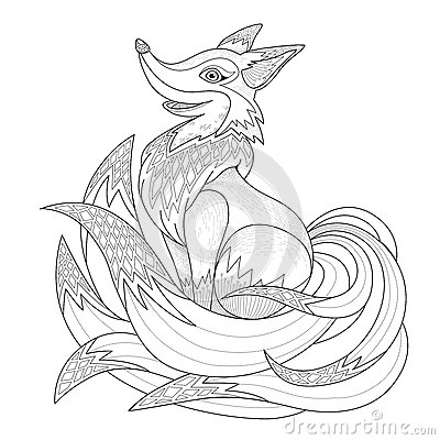 stunning fluffy fox coloring page stock vector image with fox coloring pages