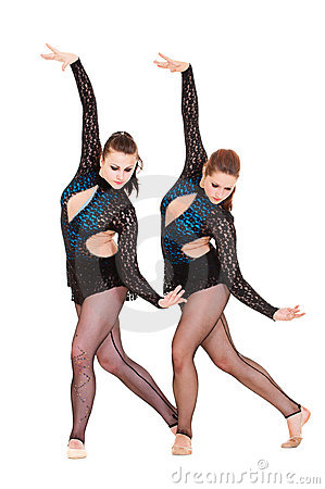 Graceful gymnasts dancing