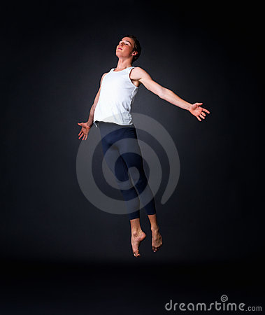 Graceful male ballet dancer performing