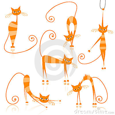 Graceful orange striped cats for your design