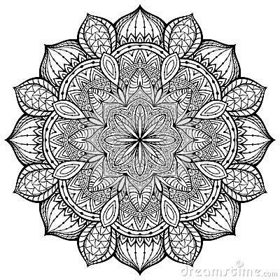 Graceful Ornamental Vector Mandala With Thin Black Lines On A White