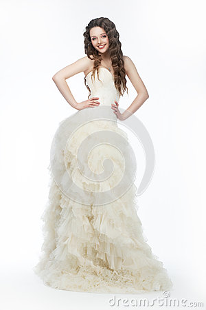 Graceful woman fiancee in modern long bridal dress
