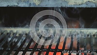 Grade do BBQ como o fundo com chama e fumo video estoque