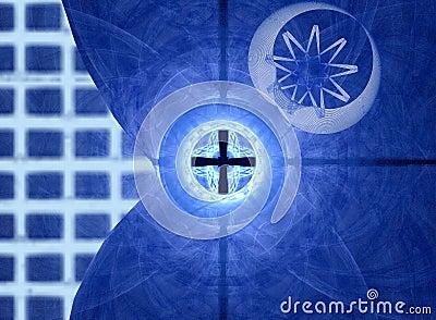 Grade e movimento azuis
