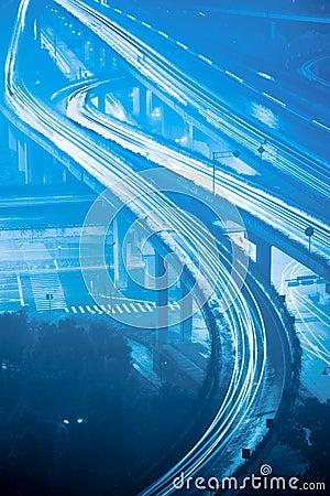 Grade separation bridge at night