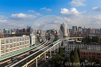 The grade separation bridge in shanghai