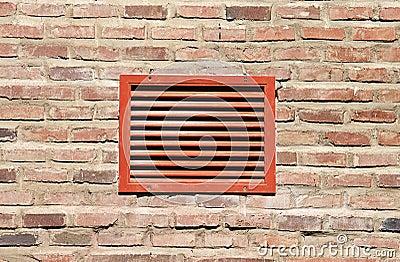 Grade vermelha da ventilação