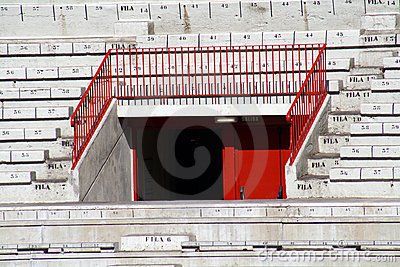 Graderio of the bullring of Pamplona. Editorial Stock Image