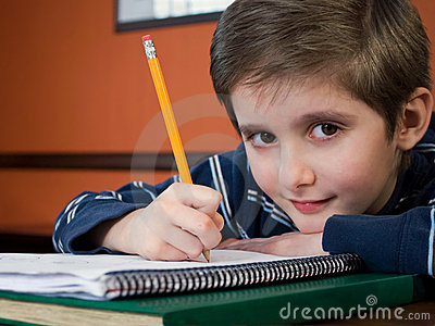 Gradeschool kid doing homework