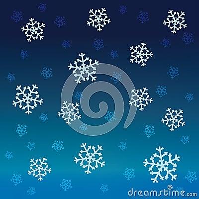 Gradient blue snow falling vector pattern