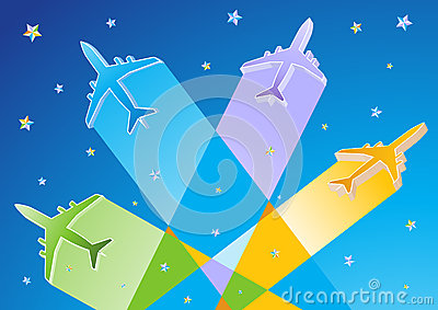 Gradient Color 3D Vector Airplanes
