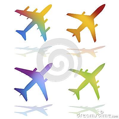 Gradient Color Vector Airplanes