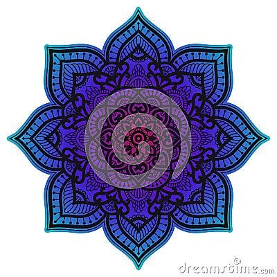Free Gradient Mandala. Circle Ethnic Ornament. Hand Drawn Traditional Indian Round Element. Spiritual Meditation Yoga Henna Stock Photo - 134216060