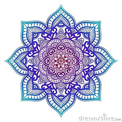 Free Gradient Mandala. Circle Ethnic Ornament. Hand Drawn Traditional Indian Round Element. Spiritual Meditation Yoga Henna Stock Photography - 134216112
