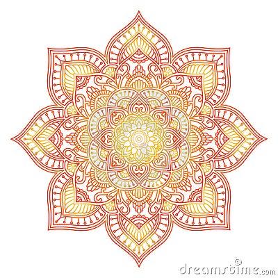 Free Gradient Mandala. Circle Ethnic Ornament. Hand Drawn Traditional Indian Round Element. Spiritual Meditation Yoga Henna Royalty Free Stock Photos - 134216158
