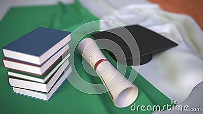 Graduação, livros e diploma na bandeira irlandesa Ensino Superior na Irlanda - animação conceitual 3D relacionada vídeos de arquivo