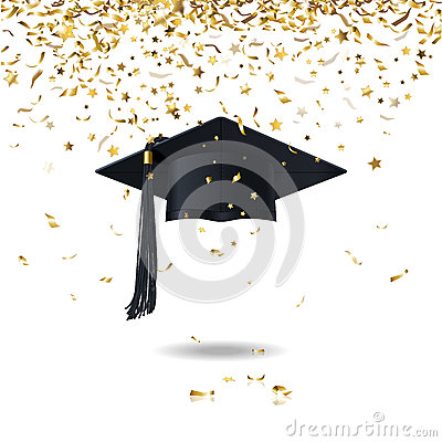 Free Graduate Cap And Confetti Stock Photo - 41262070
