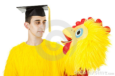 Graduate in Chicken Suit