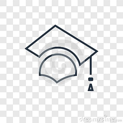 Graduate concept vector linear icon on transparent back Vector Illustration