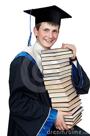 Graduate in gown with books