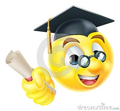 Graduate Graduation Emoji Emoticon Stock Vector