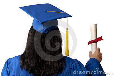 Graduate Holding Diploma Seen From Behind