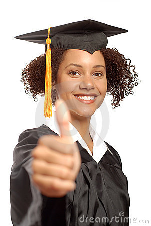 Graduate with thumbs up