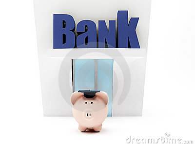 Graduated piggybank at the bank