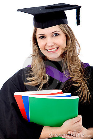 Graduated woman with books
