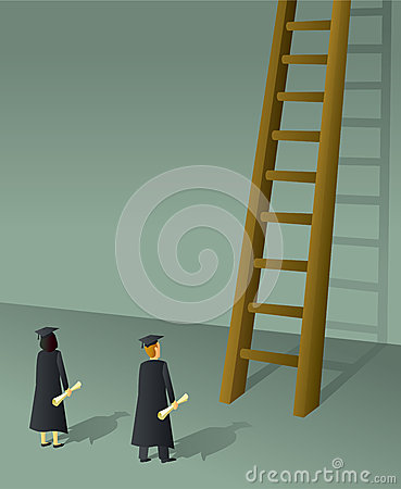 Free Graduates Climbing Ladder Stock Photography - 29694402