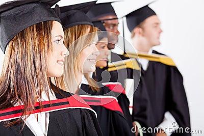 Graduates looking away