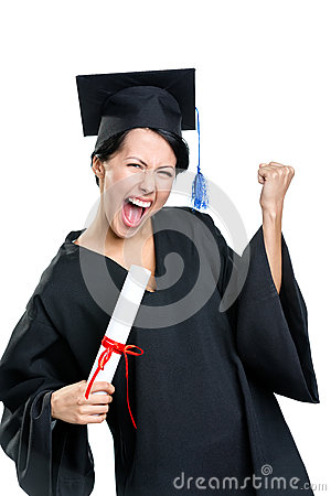 Graduating student gesturing fist with the certificate