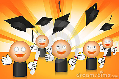 Graduating students with flying cups