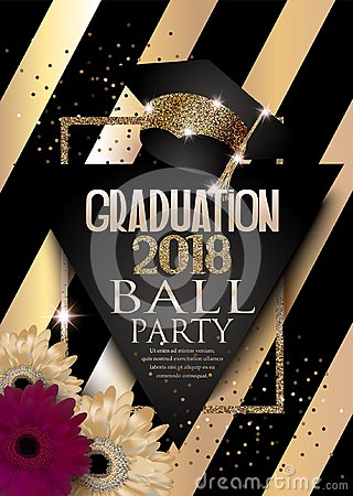 Free Graduation 2018 Party Invitation Card With Hat, Golden Frame, Flowers And Striped Background. Stock Image - 109004131