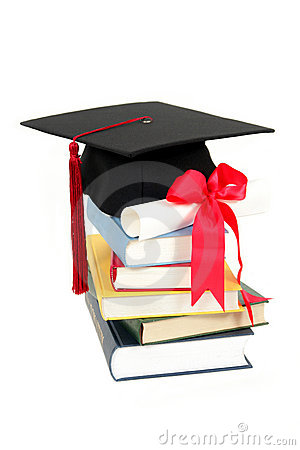 Free Graduation Cap And Diploma On Stack Of Books Royalty Free Stock Photography - 1458537