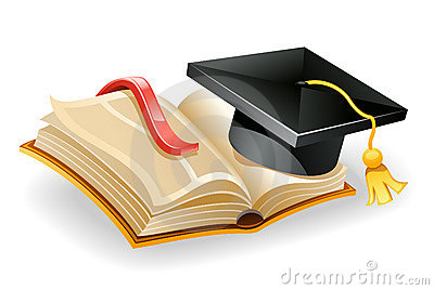 Graduation cap and book.