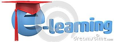 E learning education school grad cap word