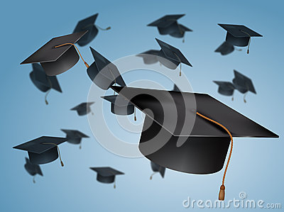 Graduation Caps In The Air Stock Photo - Image: 42111344