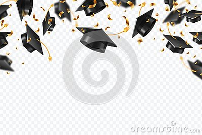 Graduation caps confetti. Flying students hats with golden ribbons isolated. University, college school education vector Vector Illustration