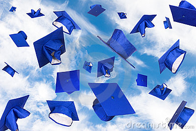 Graduation caps in flight