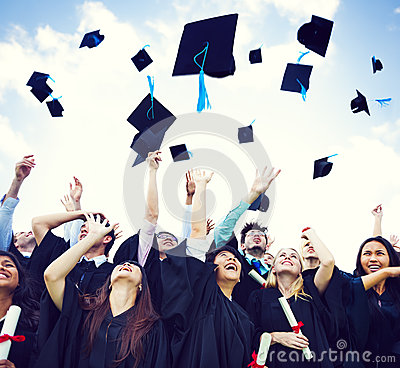 Free Graduation Caps Thrown In The Air Stock Image - 37284171