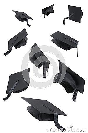 Graduation Caps On White Stock Images - Image: 24445224