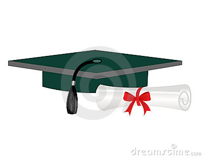 Graduation diploma and cap