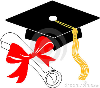 Graduation diploma and cap/eps