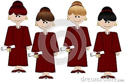 Graduation Girls - Burgundy Gown