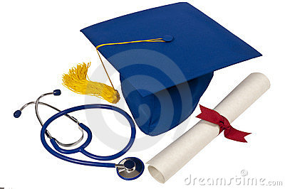 Graduation Hat With Stethoscope And Diploma