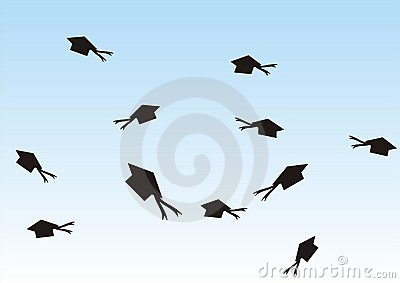 Graduation hats in the air