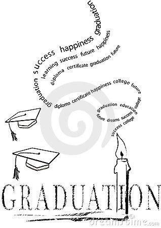 Graduation with mortar and candle.vector eps